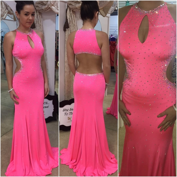 Hot Sale Prom Dress, Beading Prom Dress, Cut Out Prom Dress, Halter ...