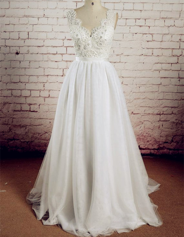 Hot Sale Long Wedding Gownlace Wedding Gownstulle Bridal Dress