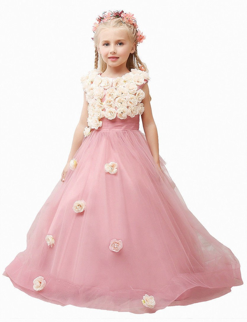 New Pink Flower Girls Dress Wedding Formal Pageant Kids Dresses Girl ...