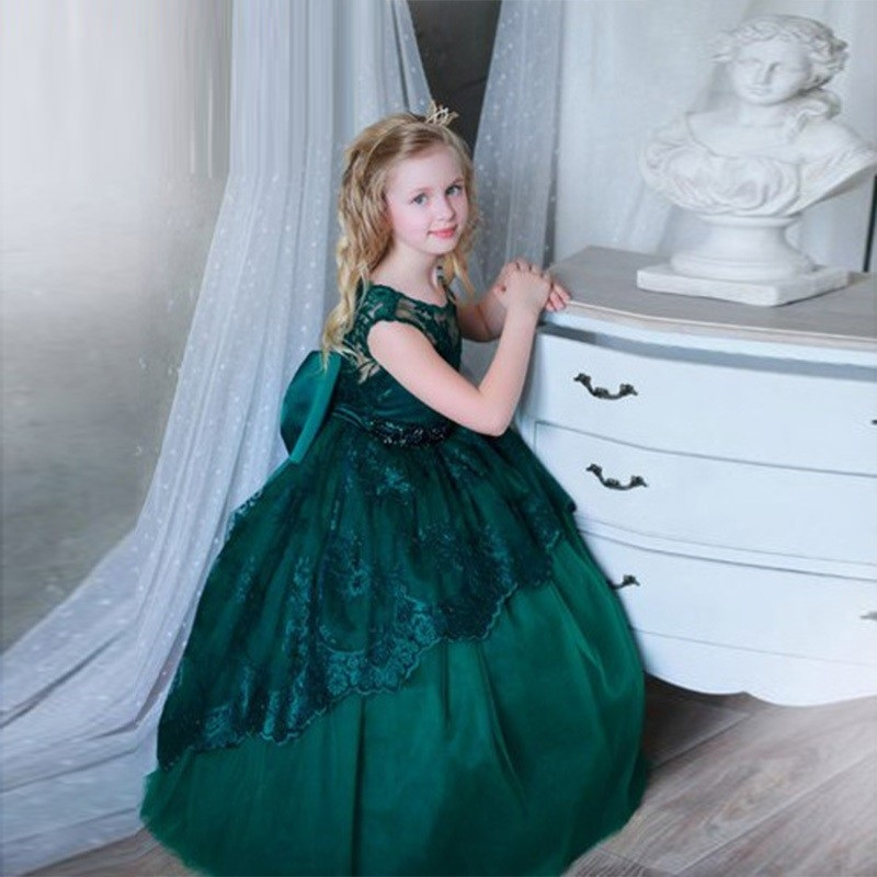 7fa5537e52e9 Dark Green Sleeveless Both Shoulders Charming Flower Girl Dress,Wedding  Birthday Party Lace Bridesmaid,Children Dresses,Princess Ball Gown TF57