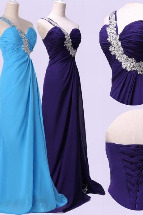 Hot Sale Sleeveless One Shoulder Sweetheart Sparkling Long Evening Dress Prom Dresses