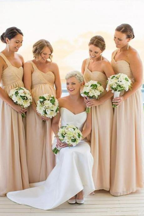One shoulder Bridesmaid Dresses,Chiffon Bridesmaid Dress Cheap bridesmaid dress, Wedding Party Dresses,Long Bridesmaid Dress,