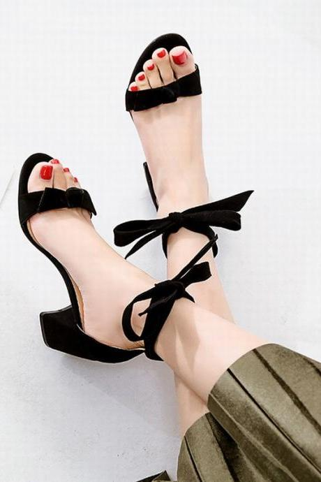Beautiful Bowknot Lace Up Thick Heels Summer Sandals High Heel Shoe nx18