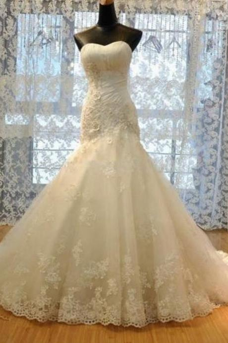 HS29 New Mermaid Wedding Dress Lace Bridal Gown charming Wedding Dress
