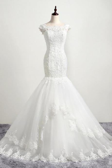 HS385 Charming Mermaid Wedding Dresses Slim lace Bridal Gowns
