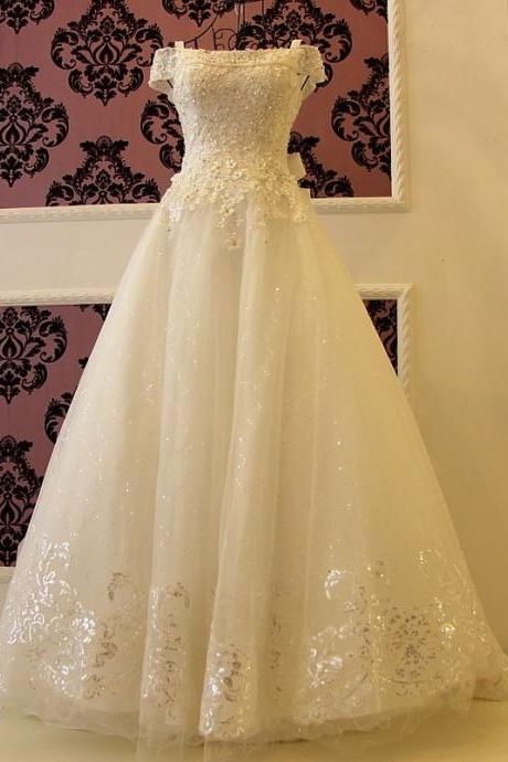 HS454 Fashion A-line wedding dress Elegant Lace Beaded Bridal Dresses