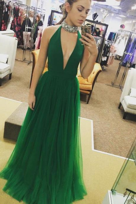 Simple A-line Sleeveless Prom Dress Formal Evening Gowns,Sexy Deep V-neck Tulle Long Prom Dress,