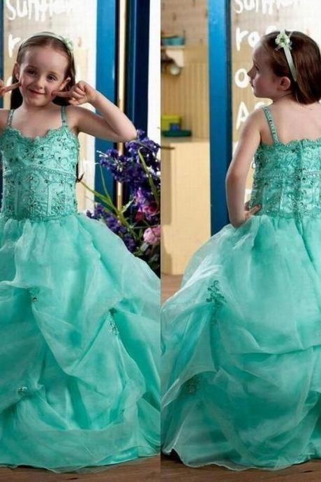 Green Cute Girl's Pageant Dresses Lace Appliques Beaded Spaghetti Straps Gown Flower Girl Dresses YTZ24