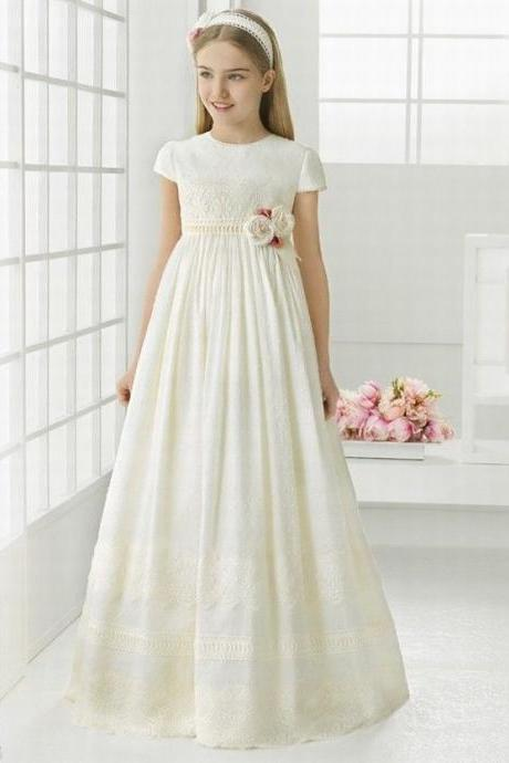 Slim A- Line Lace Flower Girl Dress Girl Party Princess Bridesmaid Wedding Flower Girl Dresses YTZ80