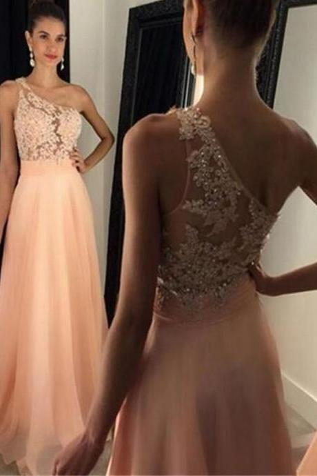 Charming Prom Dress,Chiffon Prom Dress,One-Shoulder Prom Dress,Appliques Evening Dress,Formal Dress