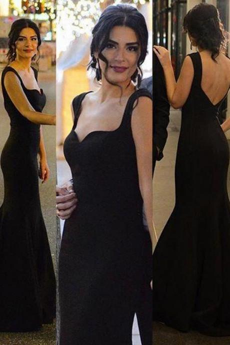 Sexy mermaid black prom dress,Formal occasion dress,Sleeveless Both shoulders prom dresses,charming evening dress,WD118