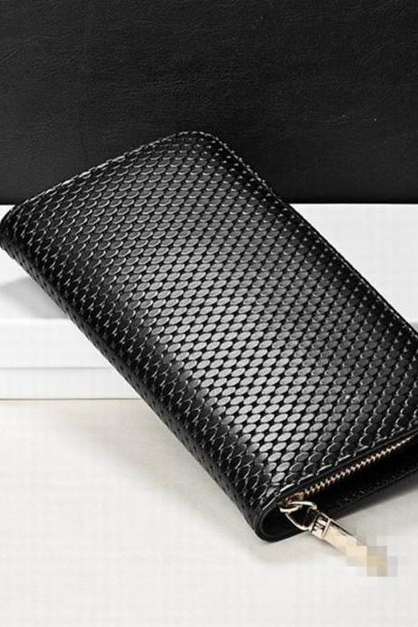 Hot Sale Fashion Black Long Office Lady Wallet Zipper Wallet Clutch Bag QB04