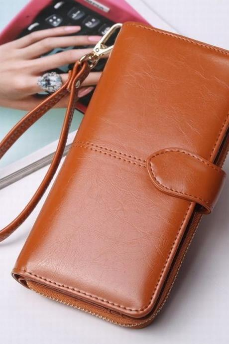 Fashion Korean Version Solid Color Wax Oil Skin Hasp Zipper Wallet Large Capacity Clutch bag QB09