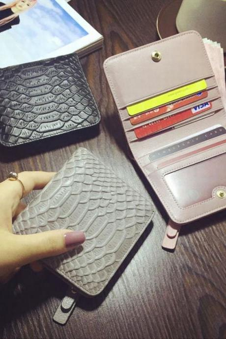Fashion Snake Texture wallet ultrathin mini Hasp Wallet Solid Color Genuine Leather Clutch Bag Card package QB17