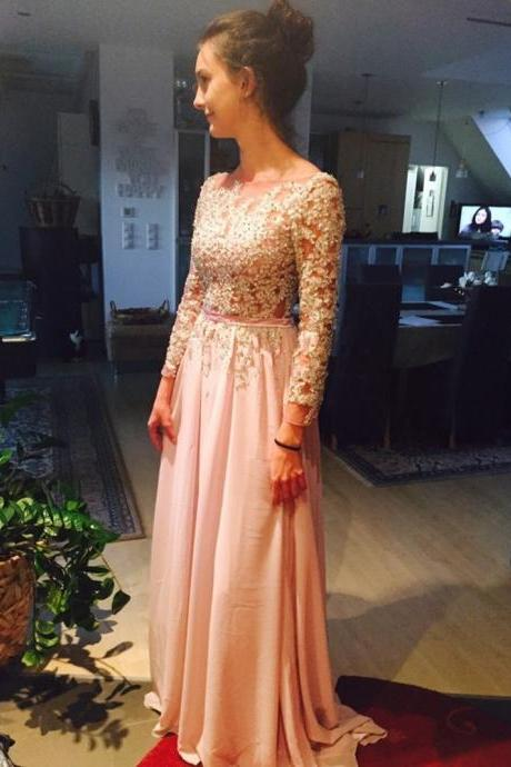 Sexy Backless Pink Long Sleeves Appliqued Beading Chiffon A-Line Prom Dresses Custom Made Evening Dresses WD122