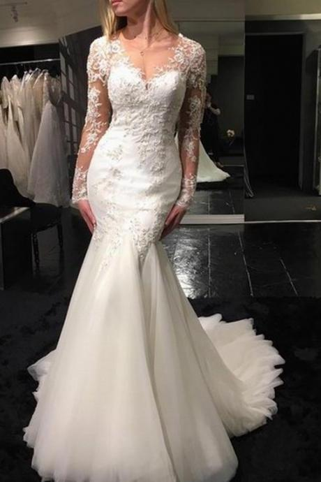 Sexy Mermaid Wedding Dress,Lace Beaded Bridal Gown,Long Sleeves Lace-up Back Wedding Gown WD209