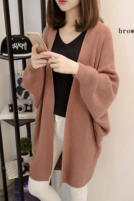 Autumn Winter New Style Medium Length Loose Knitted Sweater Coat Free Size AL04