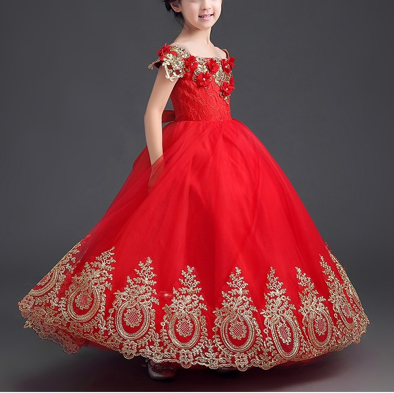 2f78c5eef88 Luxury Gold Appliques Ball Gown Off The Shoulder Red Long Flower Girl  Dresses Girls Pageant Dresses on Luulla